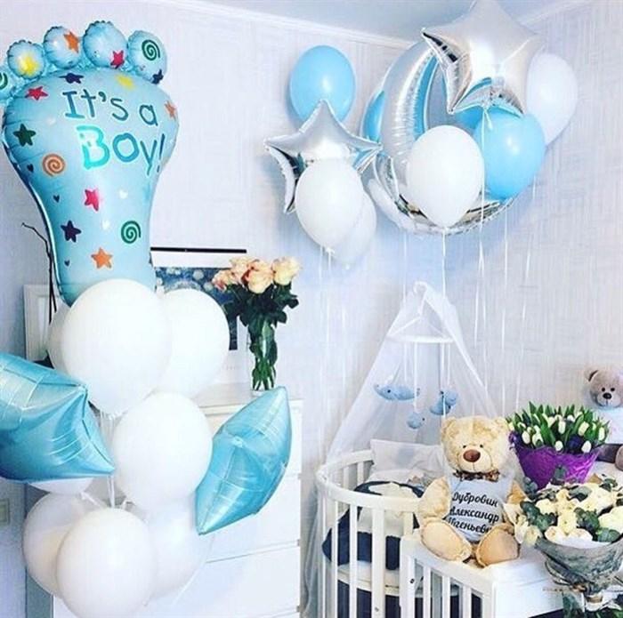 Украшение комнаты воздушными шарами для встречи новорожденного из роддома - фото 4565