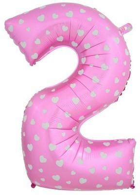 """Воздушный шар цифра """"2"""" розовая, с сердечками. - фото 4667"""