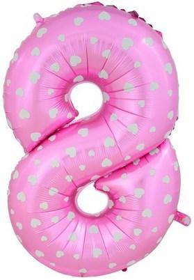"""Воздушный шар цифра """"8"""" розовая, с сердечками. - фото 4673"""