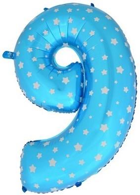 """Воздушный шар цифра """"9"""" голубая, со звездочками. - фото 4687"""