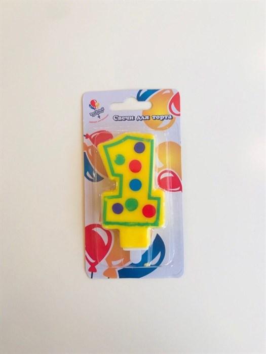 """Свеча для торта цветная """"1"""" - фото 4811"""