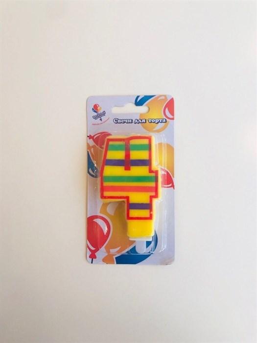 """Свеча для торта цветная """"4"""" - фото 4817"""