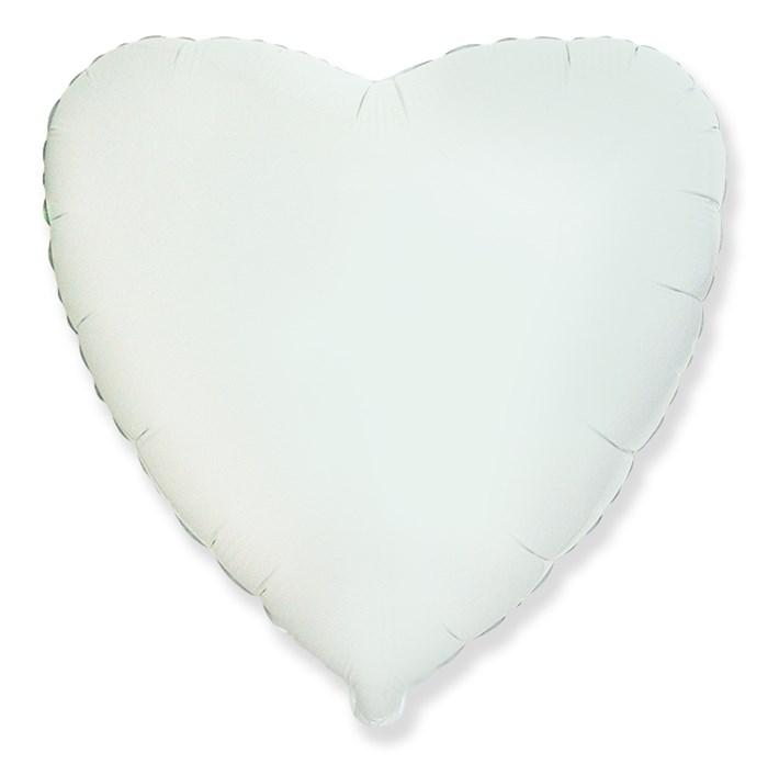 """Фольгированный воздушный шар сердце 46 см """"Белый"""" - фото 4978"""