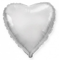 """Фольгированный воздушный шар сердце 46 см """"Серебро"""" - фото 4981"""