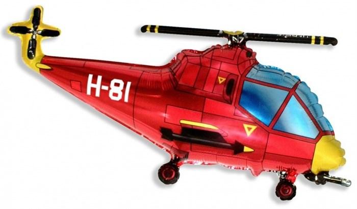 Воздушный шар Вертолет красный - фото 4990