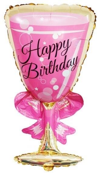 """Воздушный шар на вечеринку """"Розовый бокал шампанского"""" - фото 5158"""
