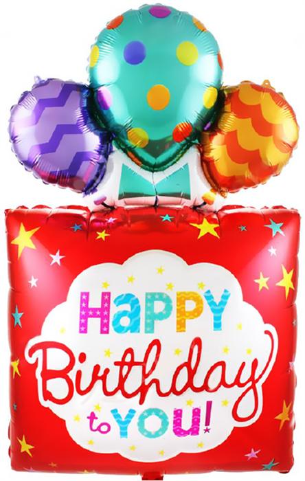 """Воздушный шар """"Подарок с днем рождения"""" красный - фото 5222"""