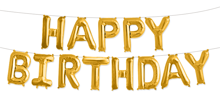"""Гирлянда из фольгированных букв """"Happy Birthday"""" золото - фото 5239"""