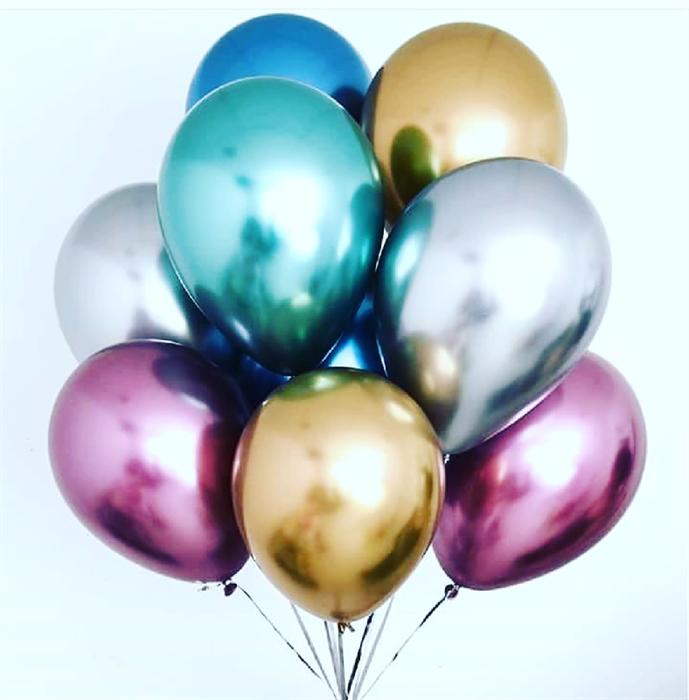 Воздушный шарик 30 см Хром (ассорти) - фото 5251