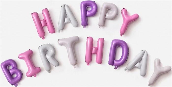"""Гирлянда из фольгированных букв """"Happy Birthday"""" для девочки - фото 5284"""