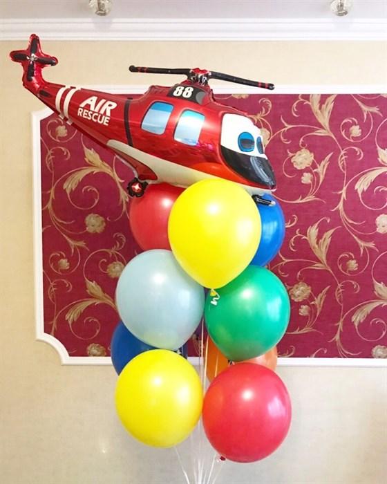 """Фонтан из воздушных шаров для мальчика """"Вертолет"""" - фото 5442"""