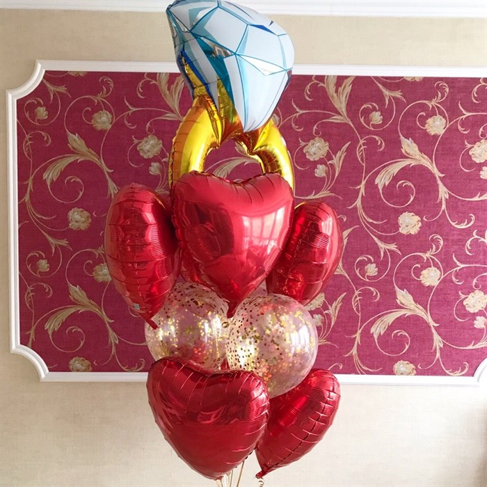 """Букет из воздушных шаров для девушки """"Бриллиантовое кольцо"""" - фото 5444"""