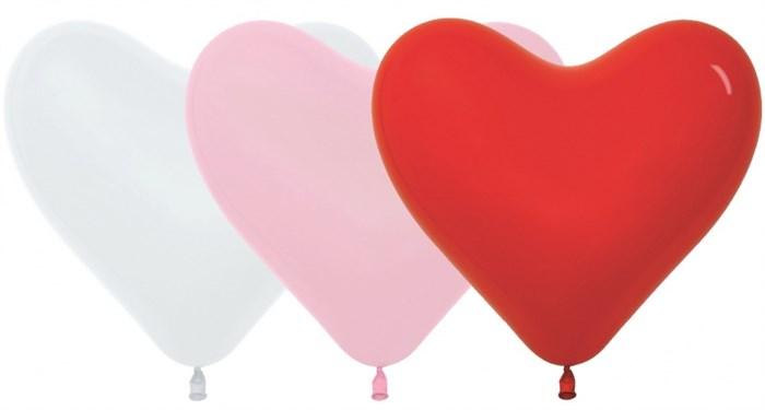Латексный воздушный шарик 30 см сердце ассорти - фото 5538
