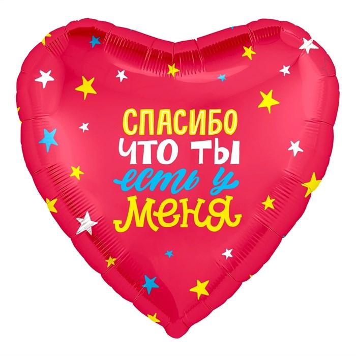 """Воздушный шар """"Сердце"""" 46см с надписью """"Спасибо, что ты у меня есть!"""" - фото 5694"""
