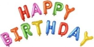 """Гирлянда из фольгированных букв """"Happy Birthday"""" ассорти - фото 5736"""