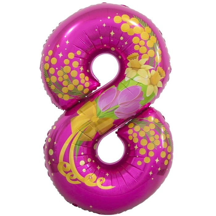 "Воздушный шар цифра ""8"" розовая на 8 марта - фото 5901"