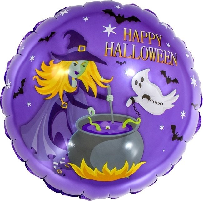 """Воздушный шар круг на Хэллоуин """"Колдовской Хэллоуин"""" - фото 6087"""