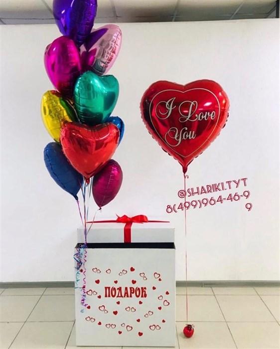 "Коробка с воздушными шарами ""Сердечки"" - фото 6113"