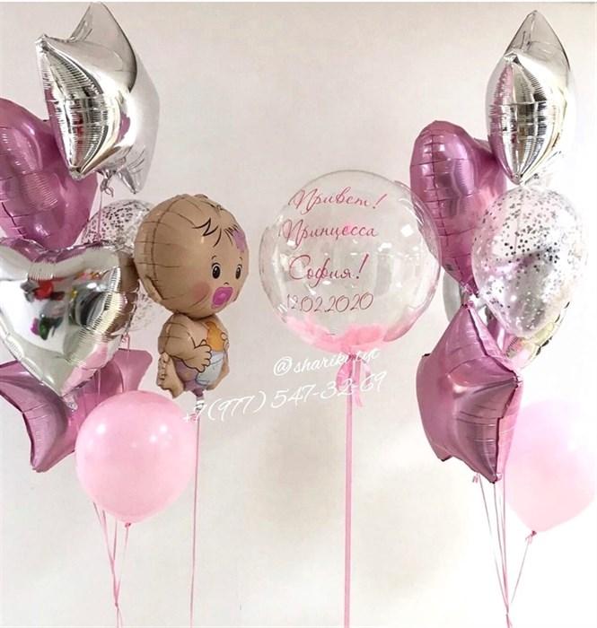 Воздушные шары на выписку из роддома - фото 6146