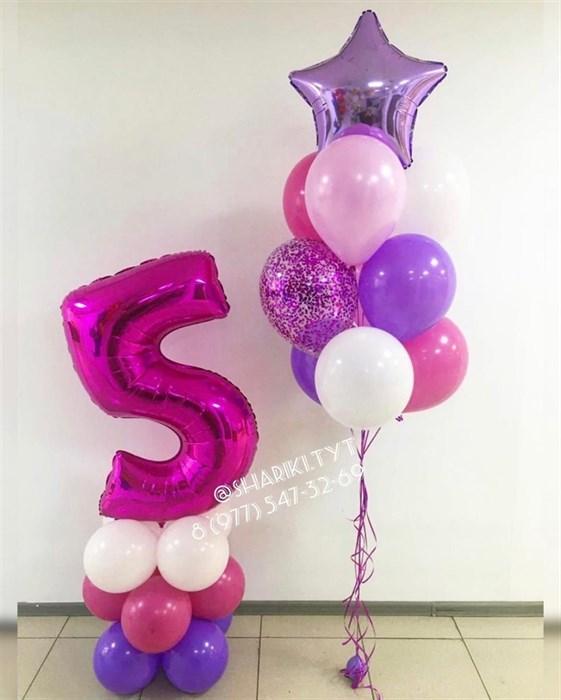 Воздушные шарики на день рождения с цифрой на стойке - фото 6202