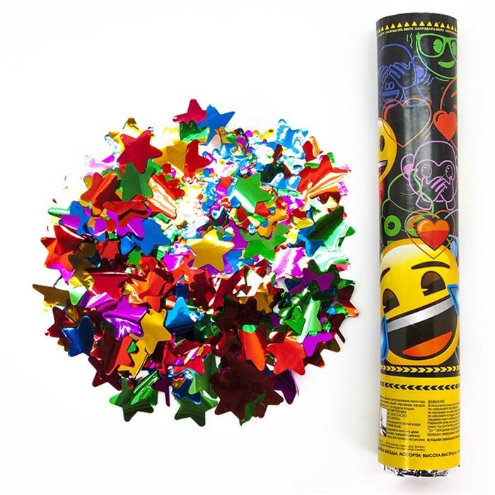 Пневмохлопушка (30 см), Смайл, Emoji, Металлизированные звезды (черный) - фото 6359