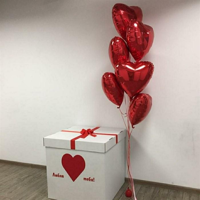 Коробка с воздушными шарами на 14 февраля - фото 6557