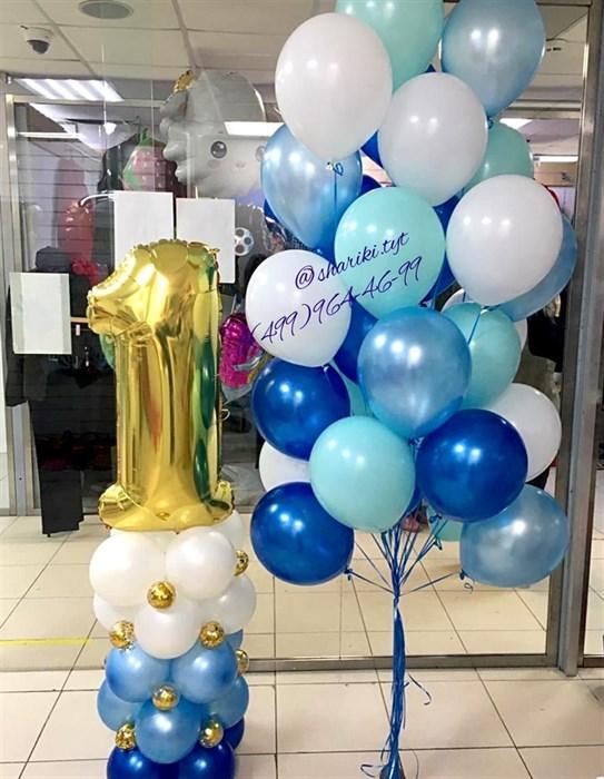 Воздушные шары на день рождения с цифрой на стойке - фото 6576