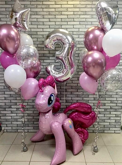 """Воздушные шары на день рождения с ходячей фигурой пони """"Пинки Пай"""" - фото 6616"""