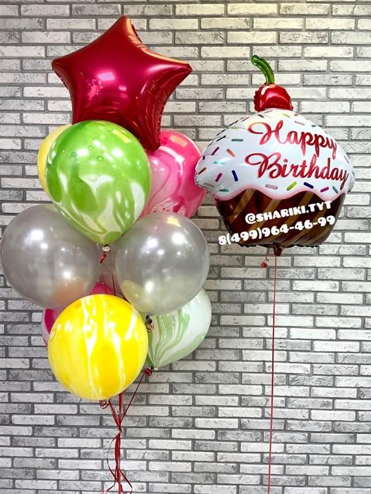 """Набор из воздушных шаров с кексом """"Happy birthday"""" - фото 6760"""