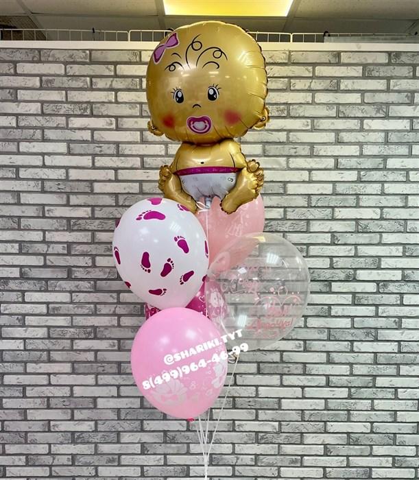 Фонтан из шаров на выписку «Малышка» - фото 6821