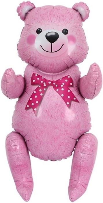 Сидячий мишка 81 см  в упаковке розовый - фото 7033