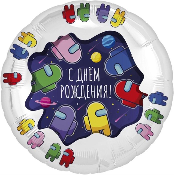 """Фольгированный шар круг """"Космонавтики"""" - фото 7168"""