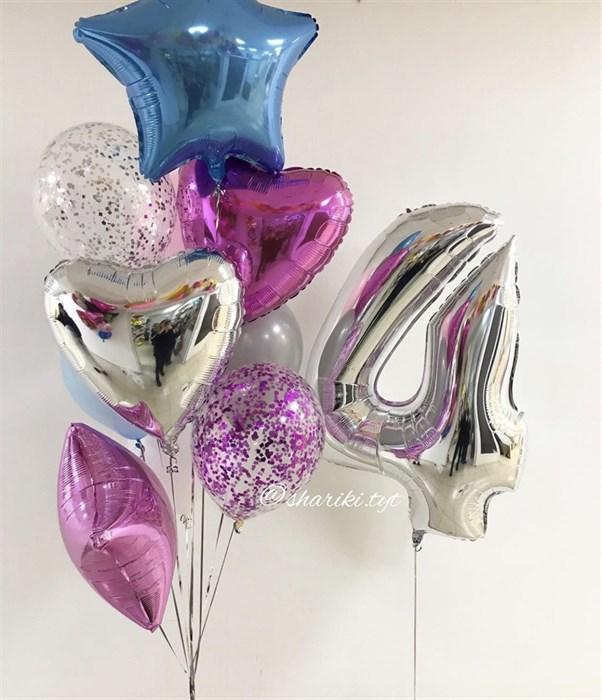 Набор воздушных шариков с цифрой для девочки - фото 7232