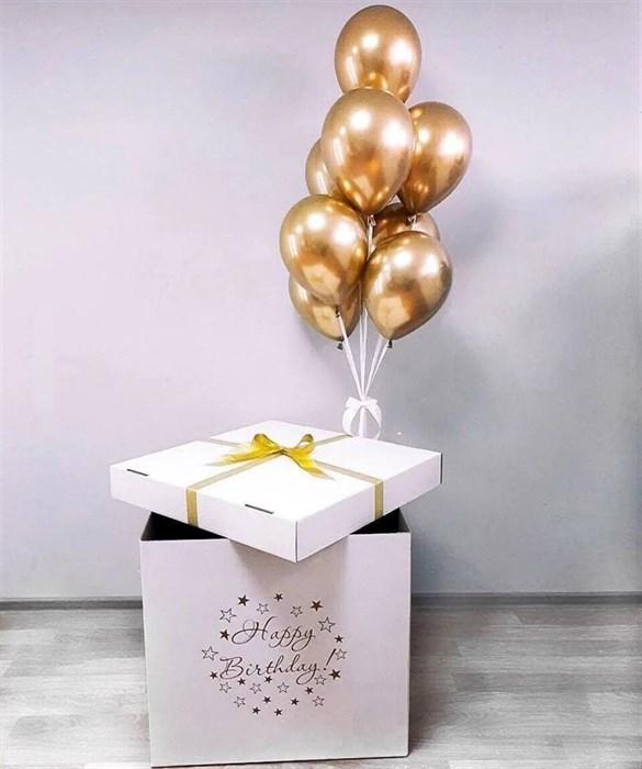 """Подарочная коробка с шарами хром """"happy birthday"""" - фото 7400"""