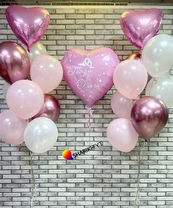 Композиция на свадьбу из шаров с большим сердцем - фото 7404