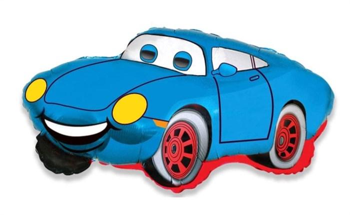 """Мини шар """"Гоночная синяя машина"""" на палочке - фото 7443"""