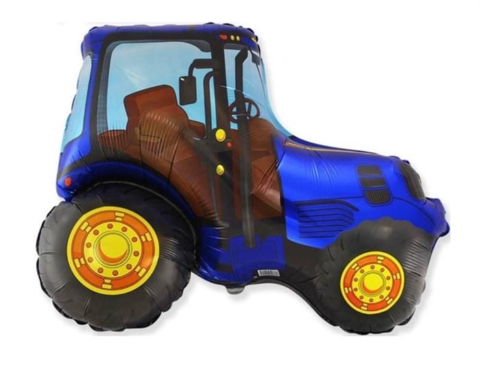 Мини шар на палочке трактор синий - фото 7453