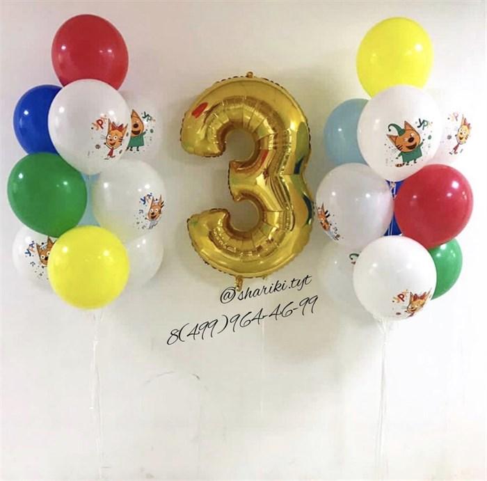 Набор воздушных шаров с цифрой «Три кота» - фото 7578