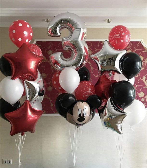 Набор фонтанов из воздушных шаров «Микки Маус» - фото 7594
