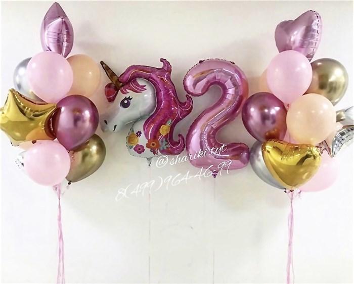 """Набор воздушных шаров """"Розовый единорог"""" - фото 7610"""