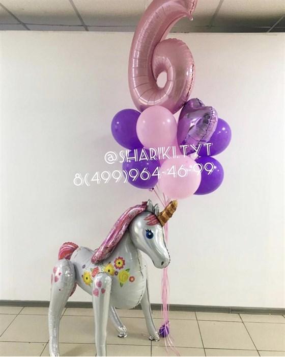 Набор воздушных шаров на день рождения «Большой волшебный единорог» - фото 7619