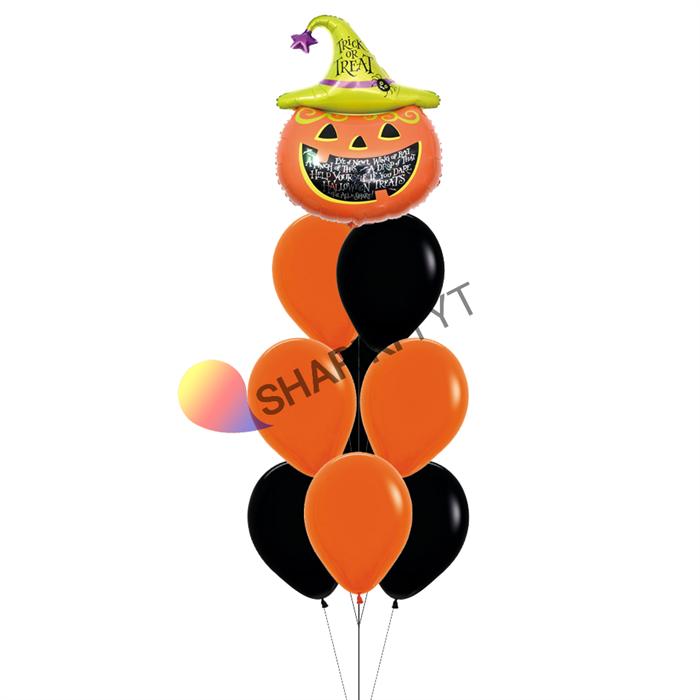 Фонтан из шаров на Хэллоуин «Тыква» - фото 7639