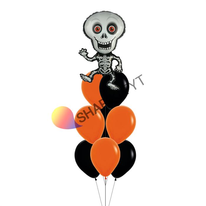 Фонтан из воздушных шаров на Хэллоуин «Скелет» - фото 7640