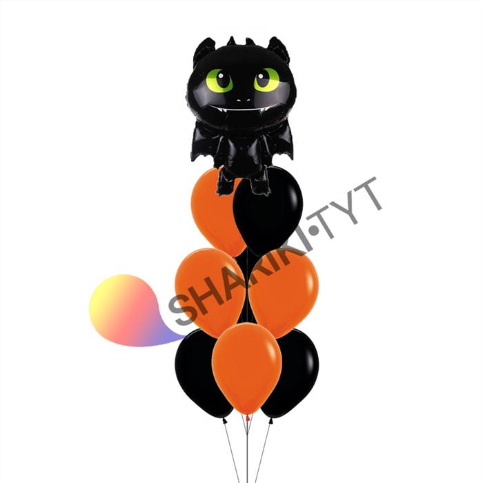 Фонтан из воздушных шаров на Хэллоуин «Дракон» - фото 7641