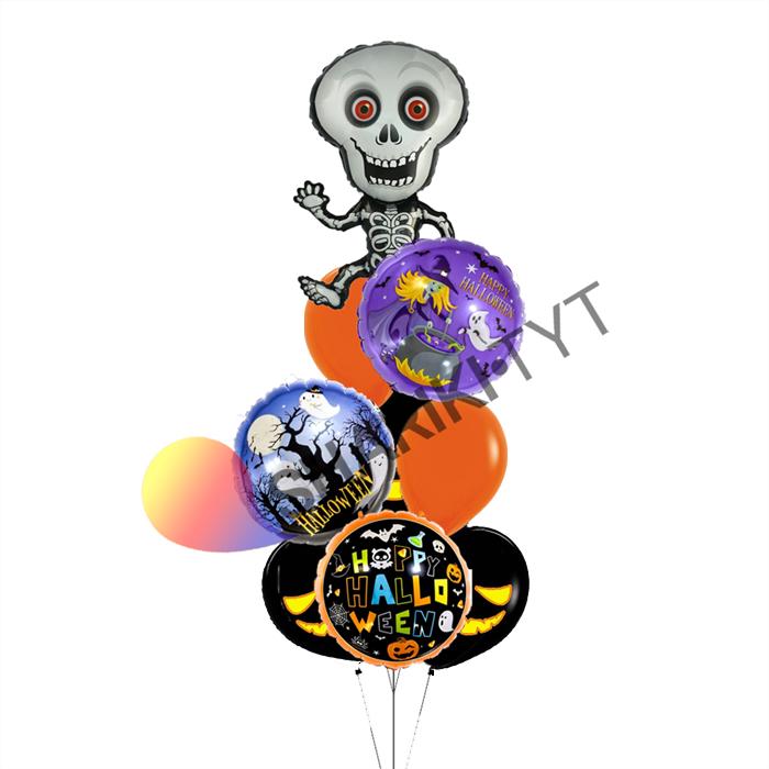 Фонтан из воздушных шаров «ассорти микс скелет» на Хэллоуин - фото 7656