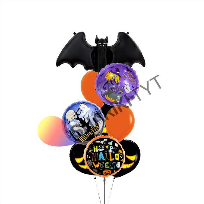 Фонтан из воздушных шаров ассорти на Хэллоуин - фото 7658
