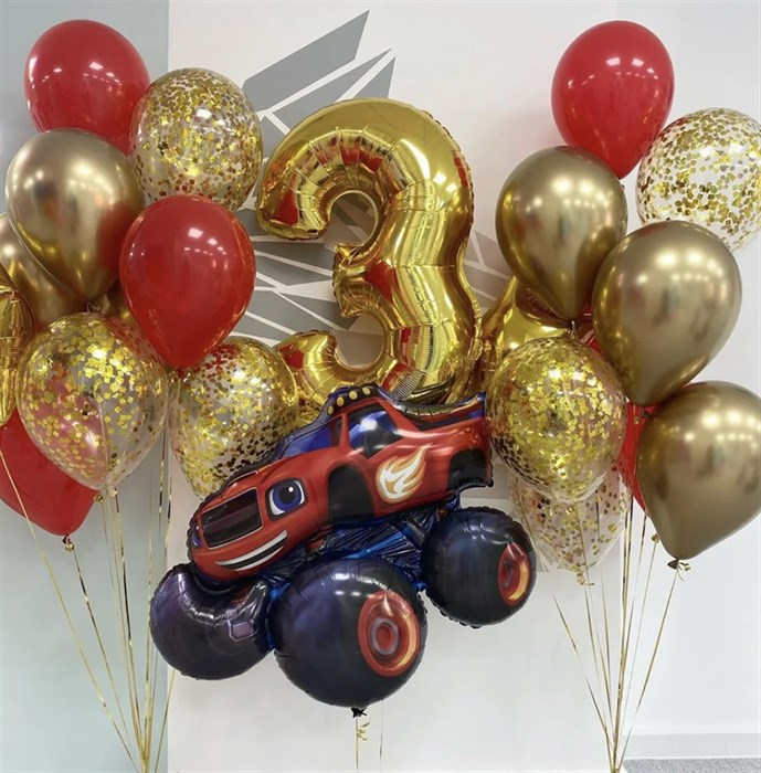 Набор воздушных шаров с цифрой и машинкой Вспыш - фото 7664