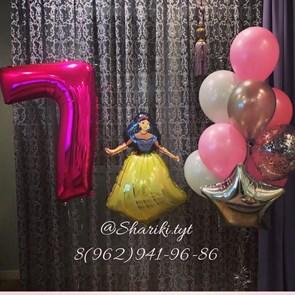 """Композиция из воздушных шариков с принцессой на день рождения """"Pink"""""""
