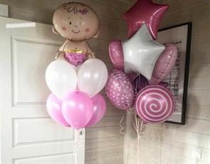Фонтаны из воздушных шаров для встречи девочки из роддома