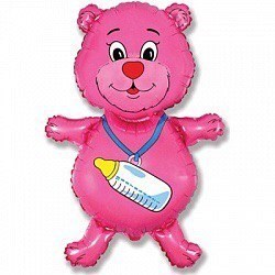 """Воздушный шар Фигура """"Медвежонок"""" Розовый."""